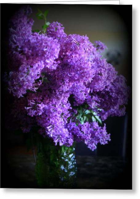 Lilac Bouquet Greeting Card by Kay Novy