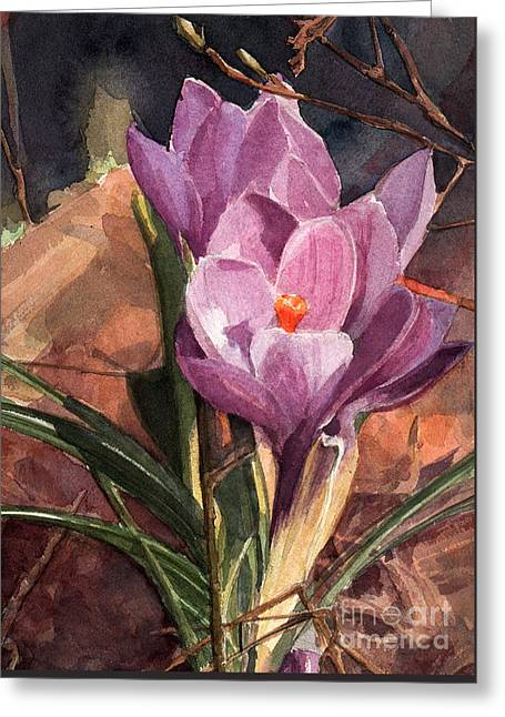Lilac Crocuses Greeting Card