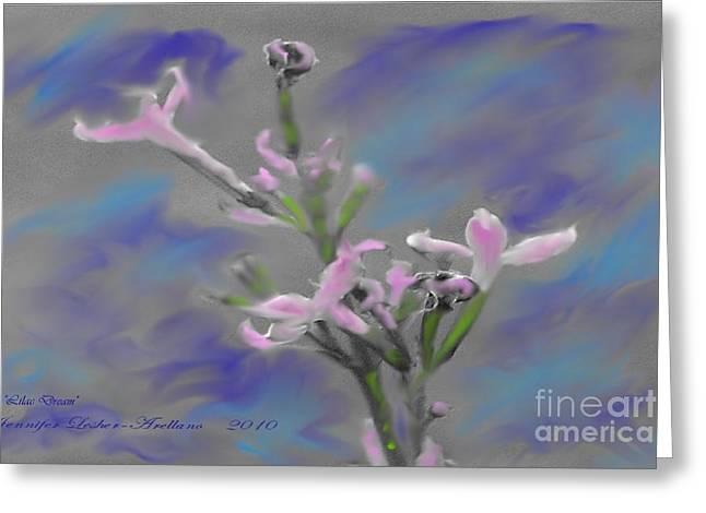 Lilac Dream Greeting Card by Jennifer Lesher - Arellano
