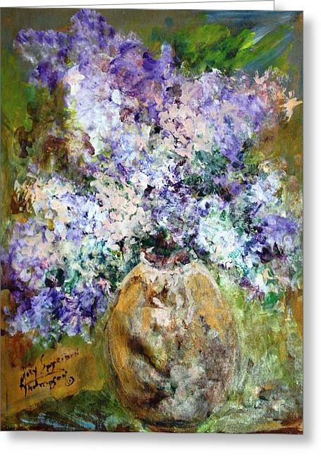 Lilac Time Greeting Card by Mary Spyridon Thompson