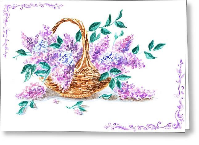 Lilac Vintage Impressionism Painting Greeting Card by Irina Sztukowski