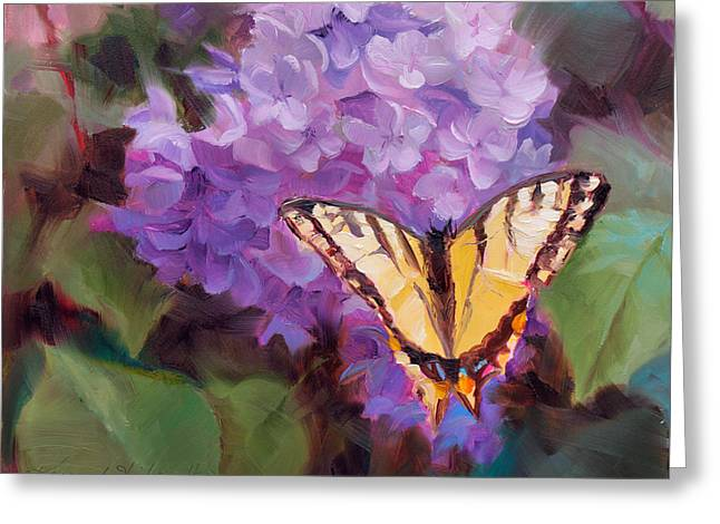 Lilacs And Swallowtail Butterfly Greeting Card by Karen Whitworth