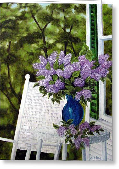 Lilacs And Wicker Greeting Card by Zelma Hensel
