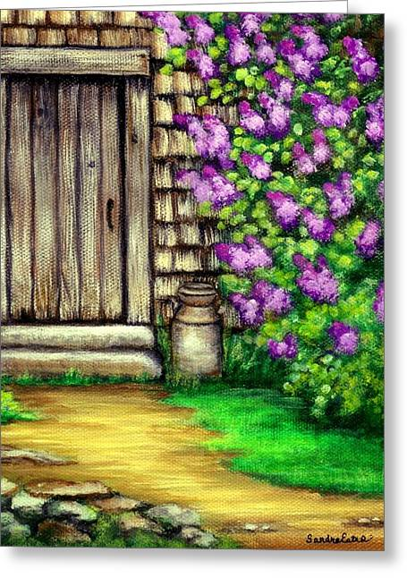 Lilacs By The Barn Greeting Card