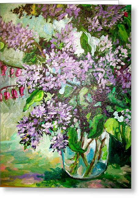 Lilacs Greeting Card by Carol Mangano