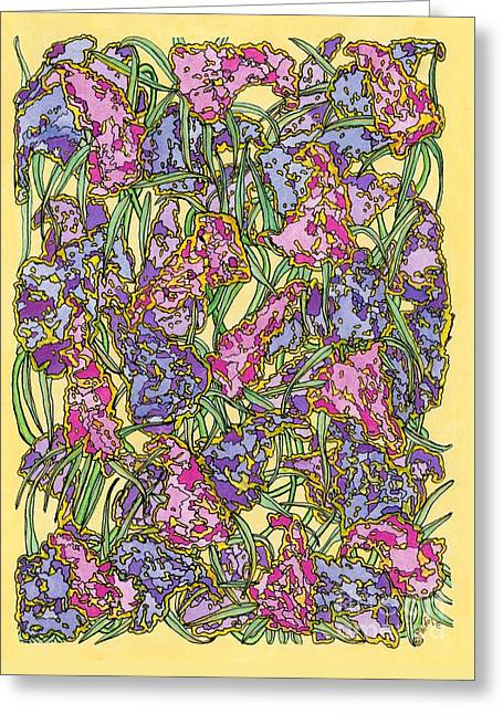 Lilacs Electric Greeting Card by Mag Pringle Gire