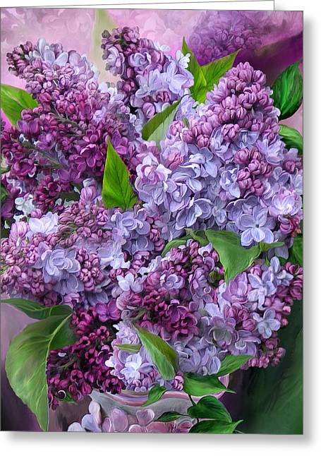 Lilacs In Lilac Vase - Sq Greeting Card