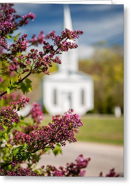 Lilac And Vintage New England Church -  Selective Focus  Greeting Card