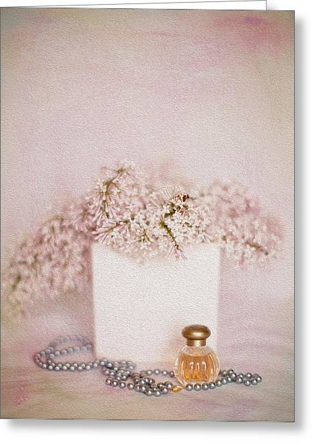 Lilacs Pearls And Perfume Greeting Card by Rebecca Cozart