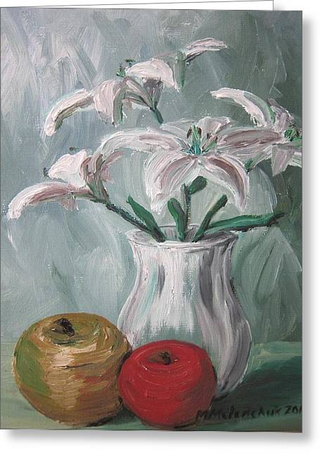 Lilies And Apples Greeting Card by Maria Melenchuk