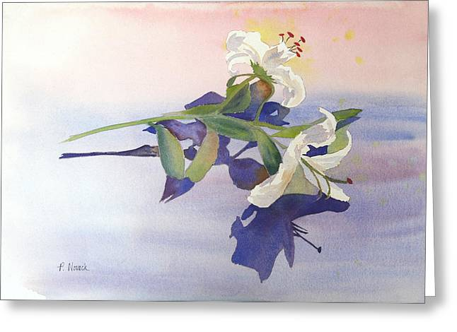 Lilies At Rest Greeting Card by Patricia Novack