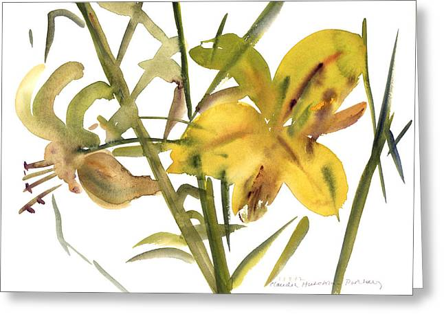 Lilies Greeting Card by Claudia Hutchins-Puechavy