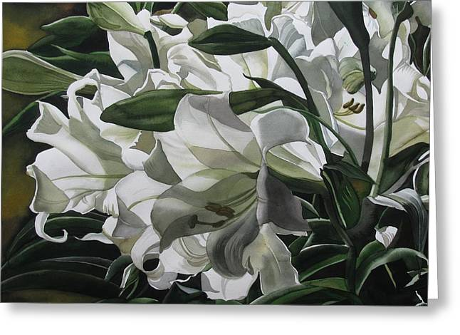 lilies for Easter Greeting Card by Alfred Ng
