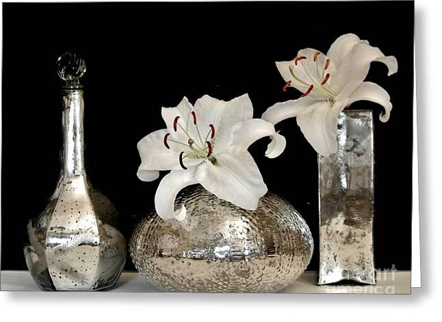 Lilies In Mercury Glass Vases Greeting Card by Marsha Heiken