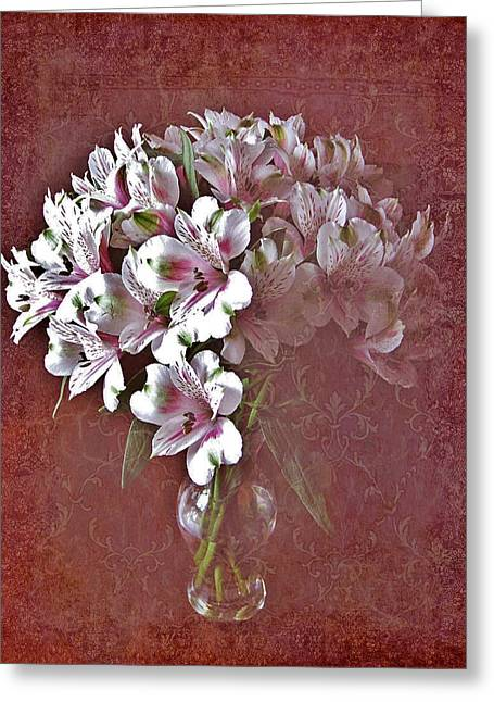 Greeting Card featuring the photograph Lilies In Vase by Diane Alexander