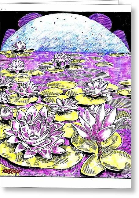 Greeting Card featuring the drawing Lilies Of The Lake by Seth Weaver