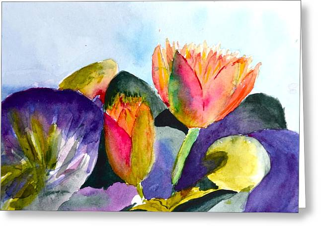 Lilies Of The Water Greeting Card by Beverley Harper Tinsley
