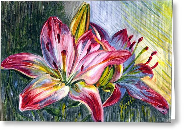 Greeting Card featuring the painting Lilies Twin by Harsh Malik
