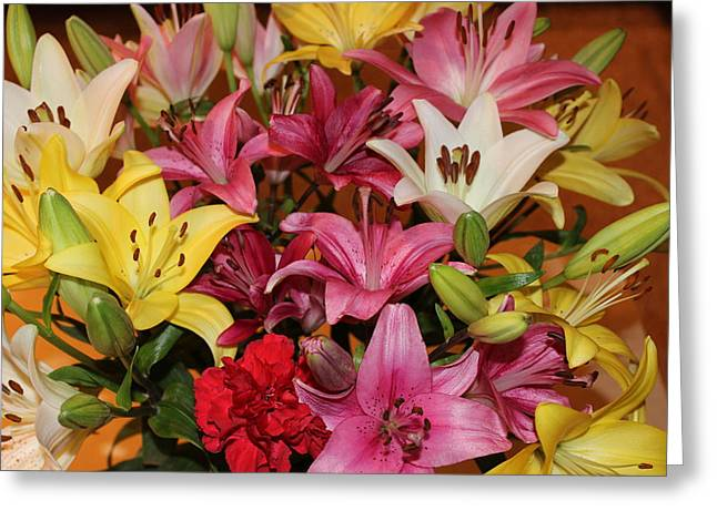Greeting Card featuring the photograph Lilies by John Mathews