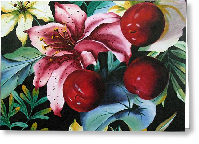 Lillies And Plums Greeting Card by Marina Petro