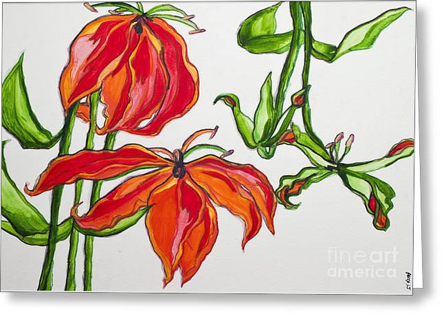 Lilies In Orange Greeting Card by Becca Lynn Weeks