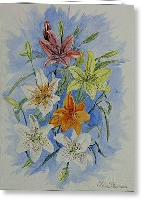 Greeting Card featuring the painting Lillies In The Primary by Kevin F Heuman