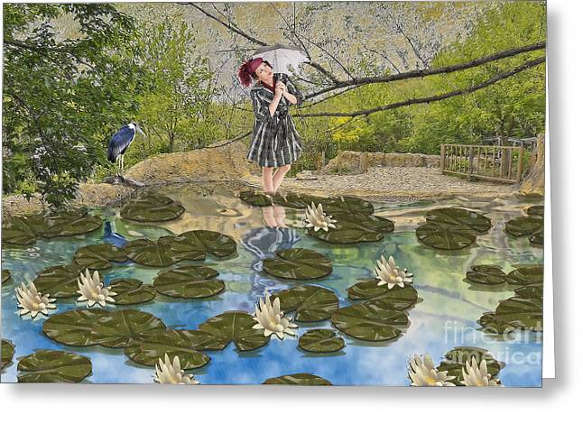 Lilly Pad Lane Greeting Card by Liane Wright