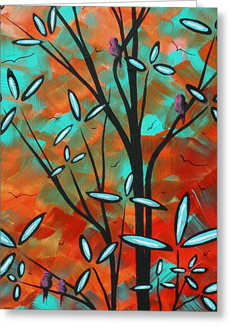 Lilly Pulitzer Inspired Abstract Art Colorful Original Painting Spring Blossoms By Madart Greeting Card by Megan Duncanson