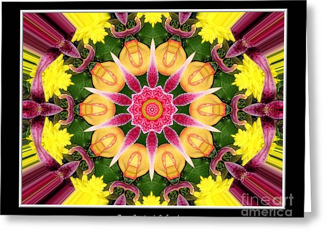 Lily And Chrysanthemums Flower Kaleidoscope Greeting Card by Rose Santuci-Sofranko