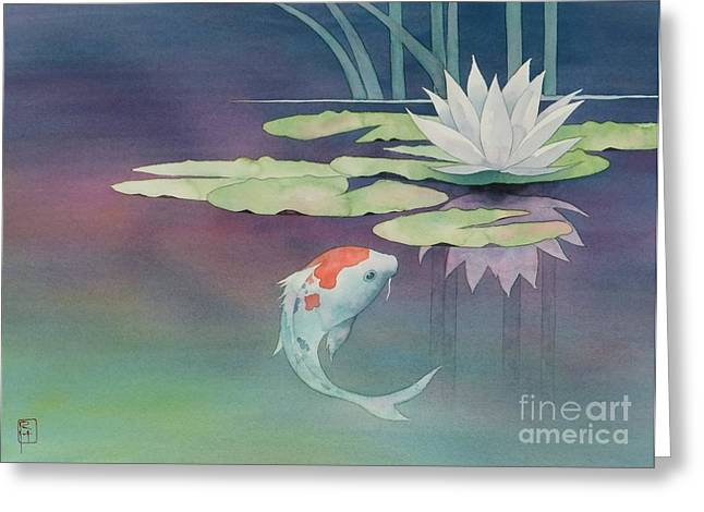 Lily And Koi Greeting Card
