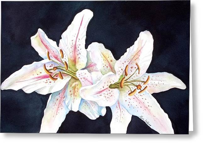 Lily Glow Greeting Card by Lyn DeLano
