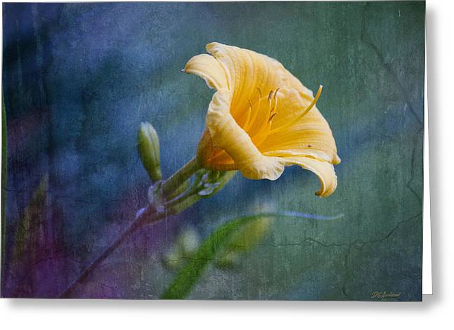 Lily In Blues And Greens Greeting Card