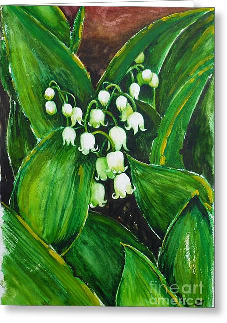Lily Of The Valley Greeting Card by Zaira Dzhaubaeva