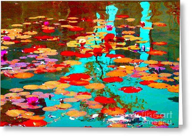 Lily Pads And Koi Colorful Water Garden In Bloom Waterlilies At The Lake Quebec Art Carole Spandau  Greeting Card by Carole Spandau