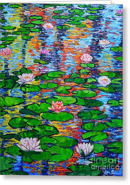 Lily Pond Colorful Reflections Greeting Card