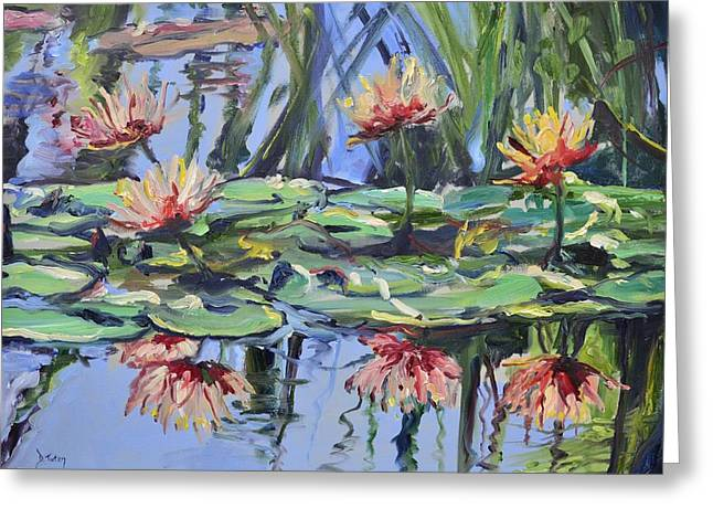 Lily Pond Reflections Greeting Card by Donna Tuten