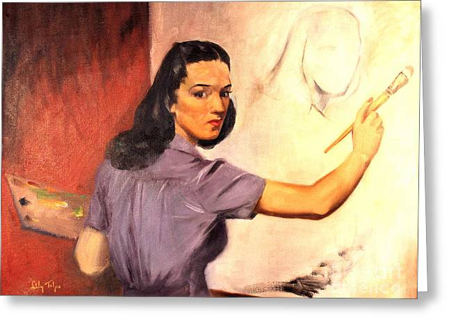 Lily Self Portrait 1940 Greeting Card by Art By Tolpo Collection