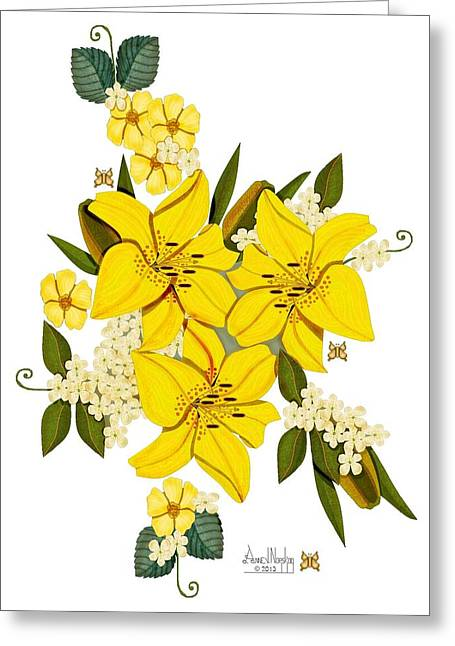 Lily Triplets Greeting Card by Anne Norskog