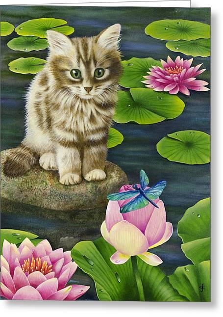 Lilys Pond Greeting Card by Carolyn Steele