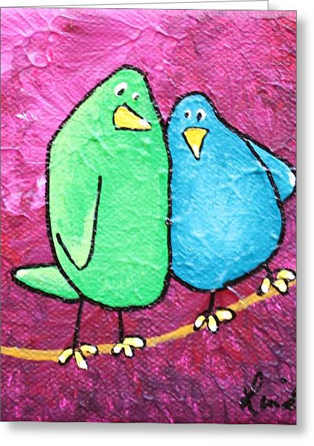 Limb Birds - Green And Turq Greeting Card by Linda Eversole