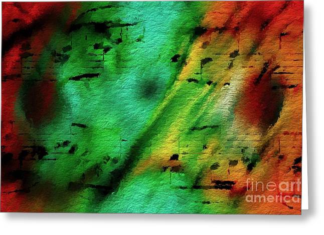 Greeting Card featuring the digital art Lime And Orange Counterpoint by Lon Chaffin