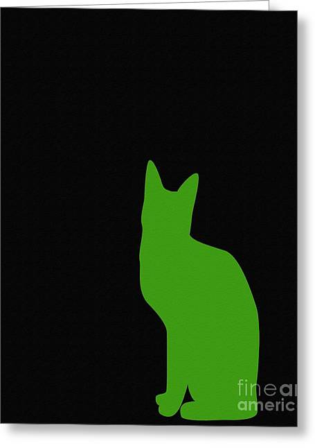 Lime Green Cat On Black Background Greeting Card by Barbara Griffin