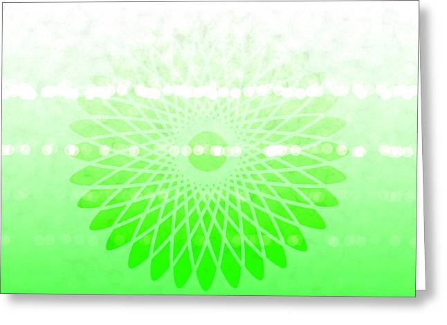 Lime Green Spirograph Greeting Card