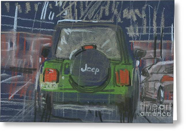 Greeting Card featuring the painting Lime Jeep by Donald Maier