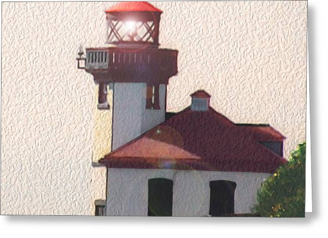 Lime Kiln Lighthouse Greeting Card by John Hines