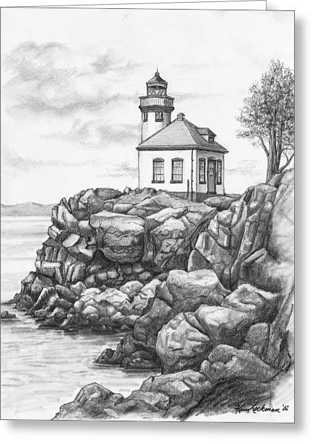 Lime Kiln Lighthouse Greeting Card by Kim Lockman
