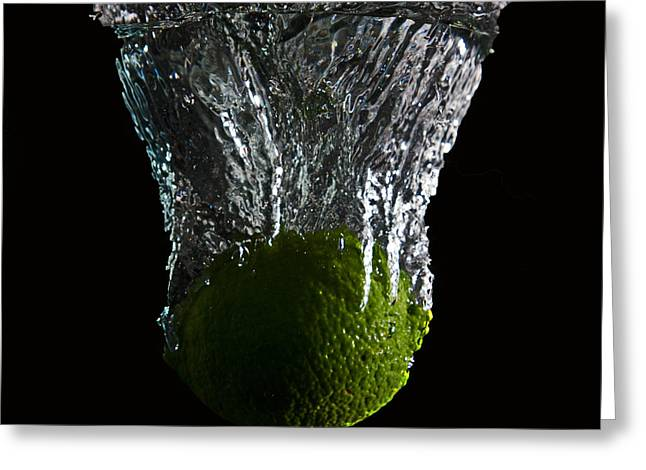 Greeting Card featuring the digital art Lime Splash by John Hoey
