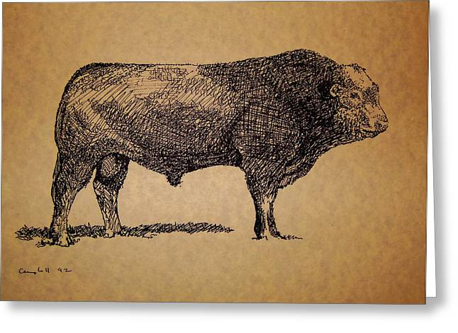 Greeting Card featuring the drawing French Limousine Bull by Larry Campbell