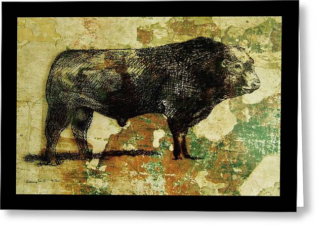Greeting Card featuring the drawing French Limousine Bull 11 by Larry Campbell