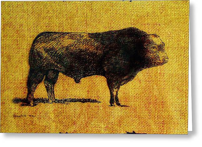 Greeting Card featuring the drawing French Limousine Bull 12 by Larry Campbell
